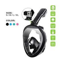 цена на 2018 New Full Face Snorkeling Mask Set Diving Underwater Swimming Training Scuba Mergulho Snorkeling Mask For Gopro Camera