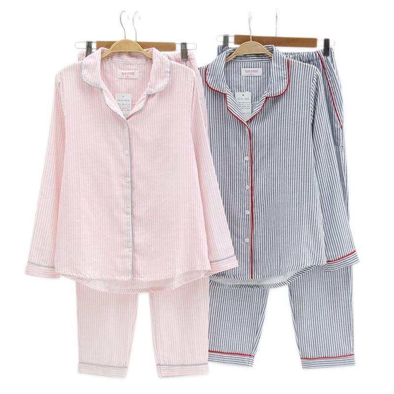Sexy Black Vertical Striated Pajamas Sets Women Sleepwear 100% Gauze Cotton Spring Long-sleeve Homewear Pijamas Pyjamas Women