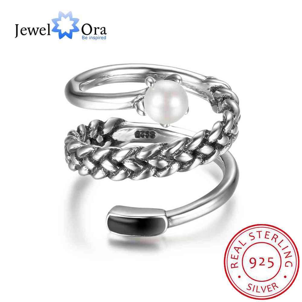 New Women Real 925 Sterling Silver Ring Old Twist Open Ring with Simulated Pearl Vintage Style Jewelry Gift JewelOraRI102708