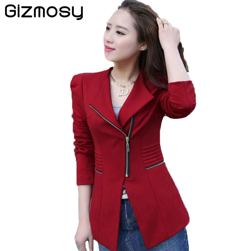ladies blazer 2018 long sleeve blaser women suit jacket female feminine blazer femme black red. Black Bedroom Furniture Sets. Home Design Ideas