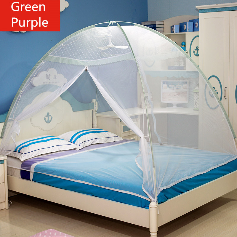 Portable Green Purple Mosquito Net Adult Bed Netting,Top Quality Single Double Bed Mosquito Nets for Children Students in Summer