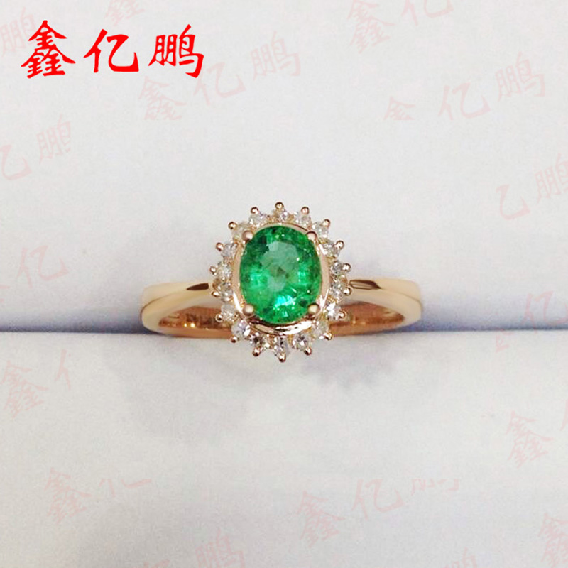 Xin yi peng 18 k rose gold inlaid natural emerald ring, 0.6 carat woman ring with diamond, classical and generous