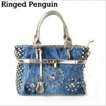 Летние модные женские сумки большой Оксфорд сумки на ремне лоскутное Жан стиль и кристально украшения синий мешок