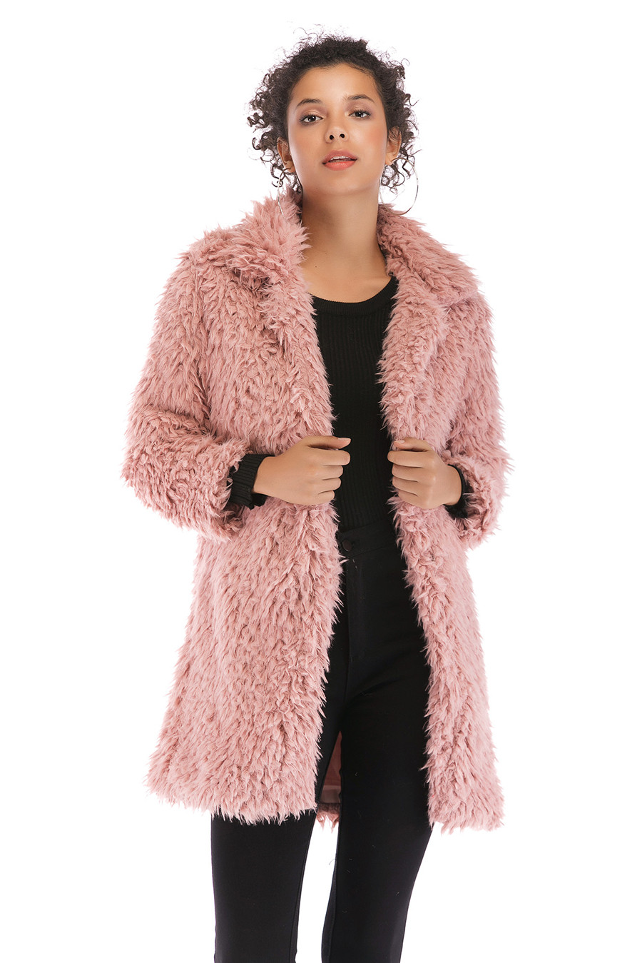 Gladiolus 2018 Women Autumn Winter Coat Turn-Down Collar Long Sleeve Covered Button Long Warm Shaggy Faux Fur Coat Women Jackets (30)