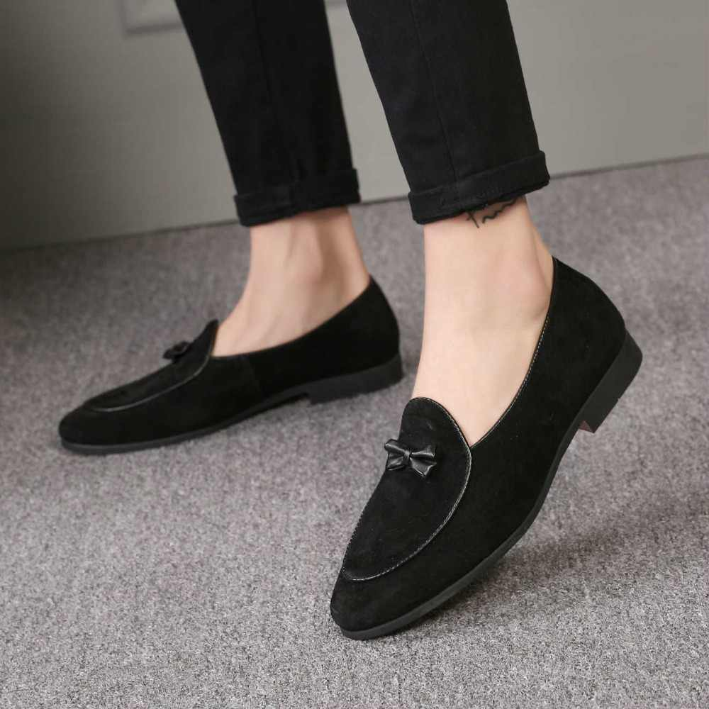 de37d7a767b0 ... M-anxiu Men Fashion Suede Leather Doug Shoes Casual Moccasin Flat  Bowknot Slip-On ...