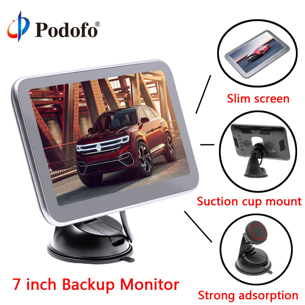 Podofo 7 Screen Car Rear view Monitor Vehicle Parking System for RV/Bus/Trailer/Truck 8 IR Backup camera + Suction Cup BracketPodofo 7 Screen Car Rear view Monitor Vehicle Parking System for RV/Bus/Trailer/Truck 8 IR Backup camera + Suction Cup Bracket