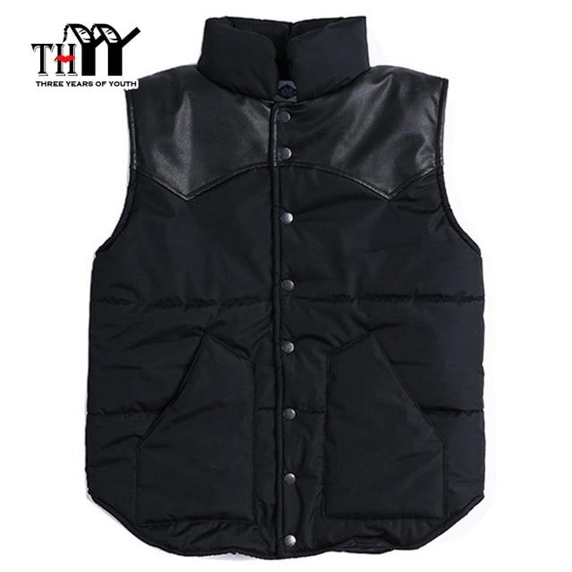THYY Single Breasted Cotton Winter Men's Vest 2017 Solid Black Sleeveles Outerwear Winter Coats Cotton Vest male Couples vest
