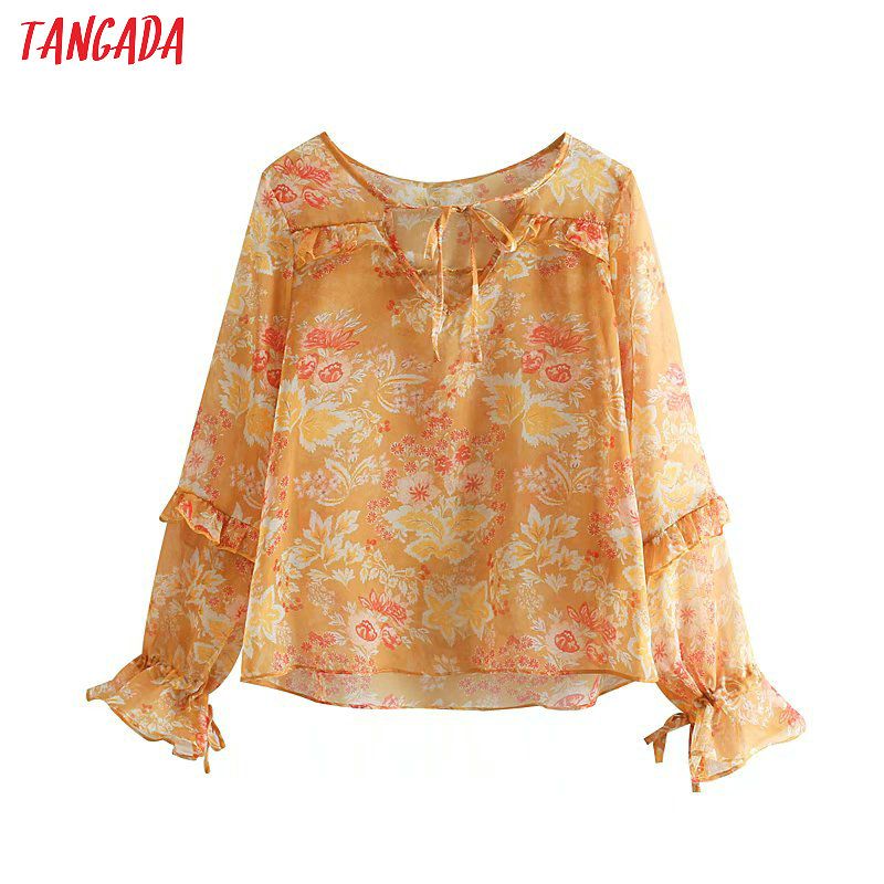 Buy Cheap Tangada Summer 2019 Women Bohemian Shirts Transparent Bow Tie Neck Orange Floral Print Blouse Lantern Sleeve Holiday Blusas 2s05 Women's Clothing
