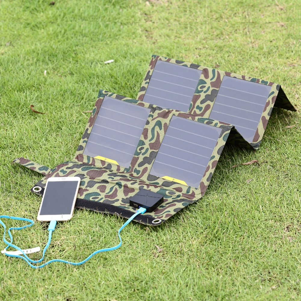 26W Portable Folding Solar Panel Charger Camouflage Folding Solar Charger Outdoor Mobile Power Solar Panels For Cell Phones GPS