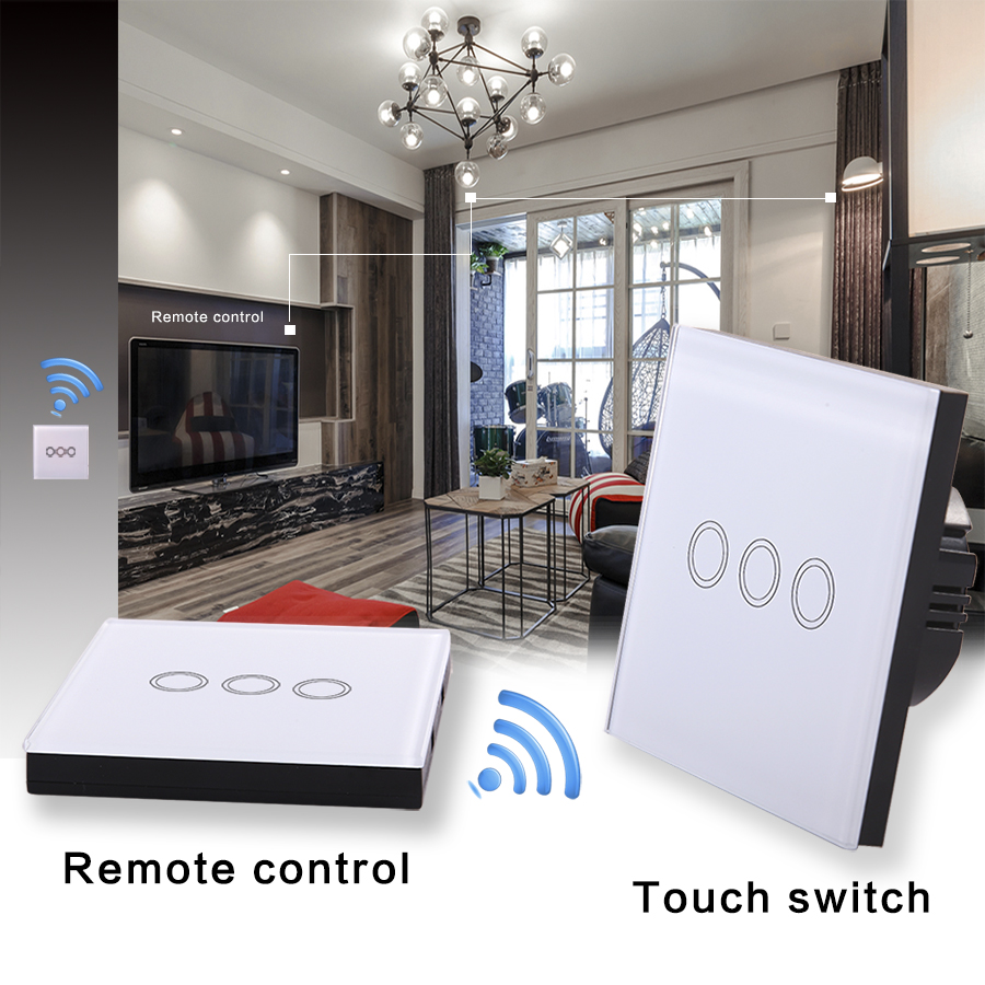 Vhome Wireless remote control panel RF433Mhz,white 3gang 1 way Wall lighting Crystal Glass Panel Smart Touch Switch AC170-240V vhome eu uk smart home touch the switch wall stickers remote control transmitter rf433mhz wall light glass panel