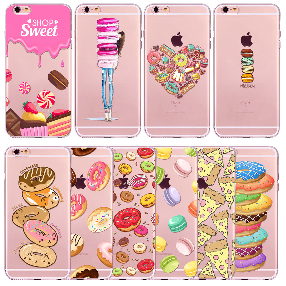 Rainbow Color font b Food b font Donuts Macaron Phone Cases For iphone 6 6S 5