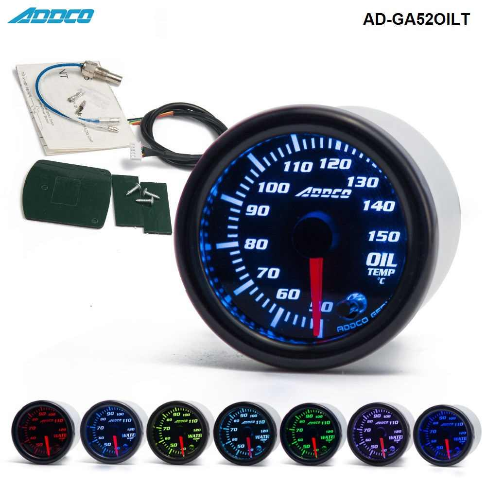 "2"" 52mm 7 Color LED Smoke Face Auto Racing Oil Temp Meter Gauge Car Gauge With Sensor and Holder AD-GA52OILT"