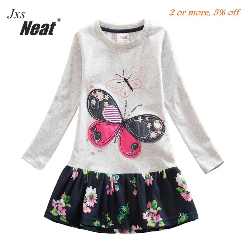 ᗔ2016 Розничная Продажа Одежда для девочек с длинным рукавом платье ... 36ab9aec973