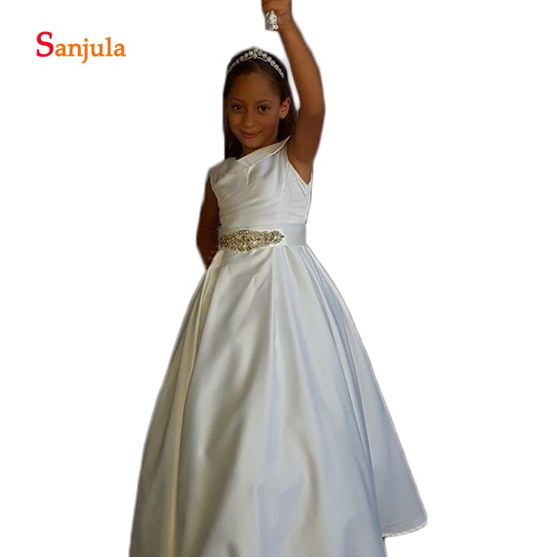 Ivory Satin   Flower     Girls     Dresses   with Gold Beaded Belts Puffy A-Line Sweet   Girls   First Communion   Dresses   vestido flores D682