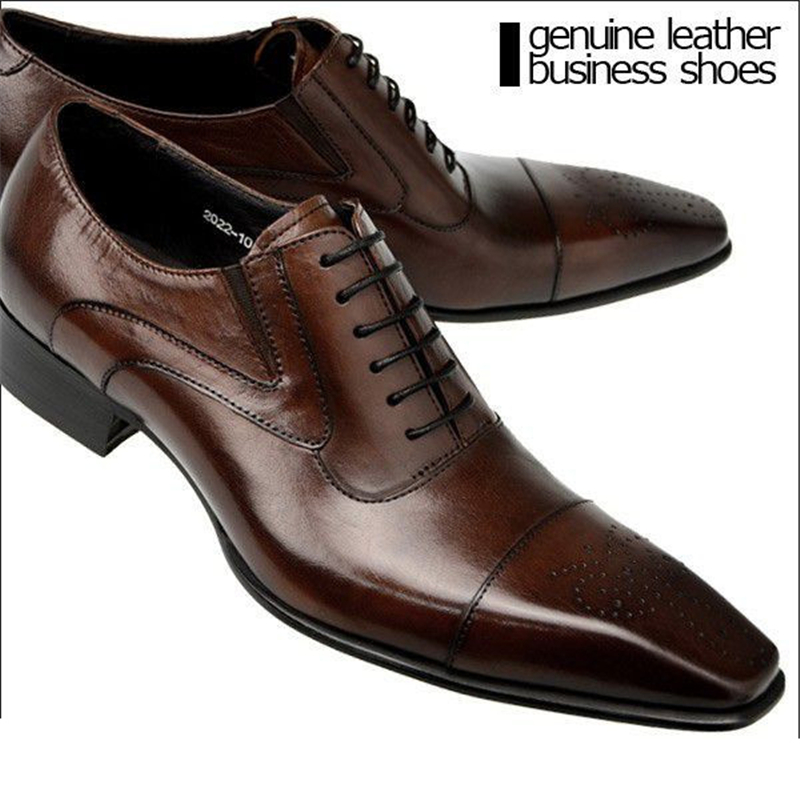 Large size brown tan / black mens dress shoes genuine