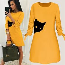 Dress Cat Animal Print Round Neck Solid Color Dress Vestidos Summer Vintage Women Mujer Shirt Dress Elegant Dress for Woman