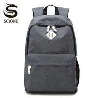 Scione Canvas Simple Backpack School Bags For Teenage Girls Boys Laptop Backpacks Large Capacity Travel Rucksack