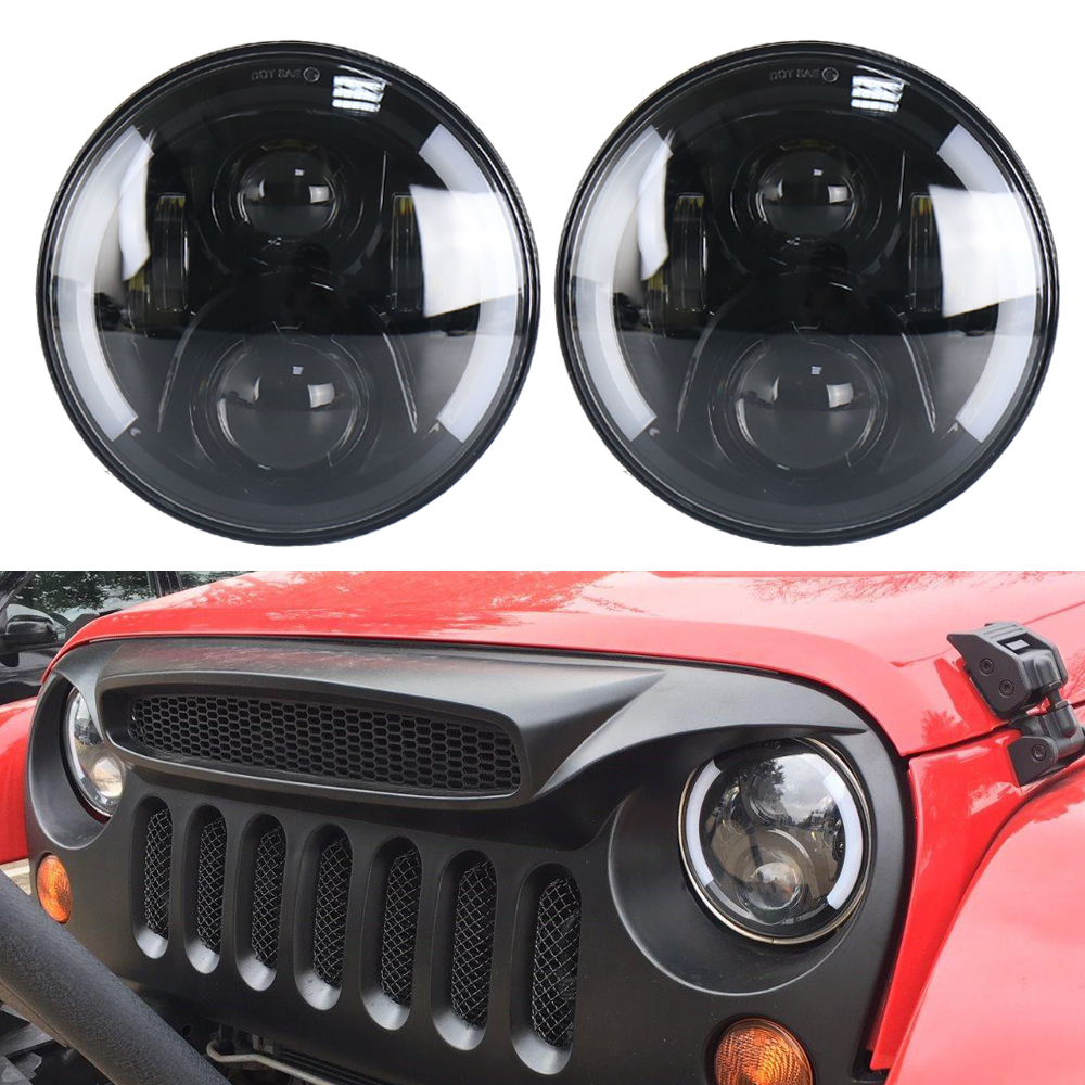 2pcs 7 Inch H4 H/Low lm LED Headlight For Lada 4x4 urban Niva For Jeep Wngler Hummer Land rover defender Drl fog Driving light