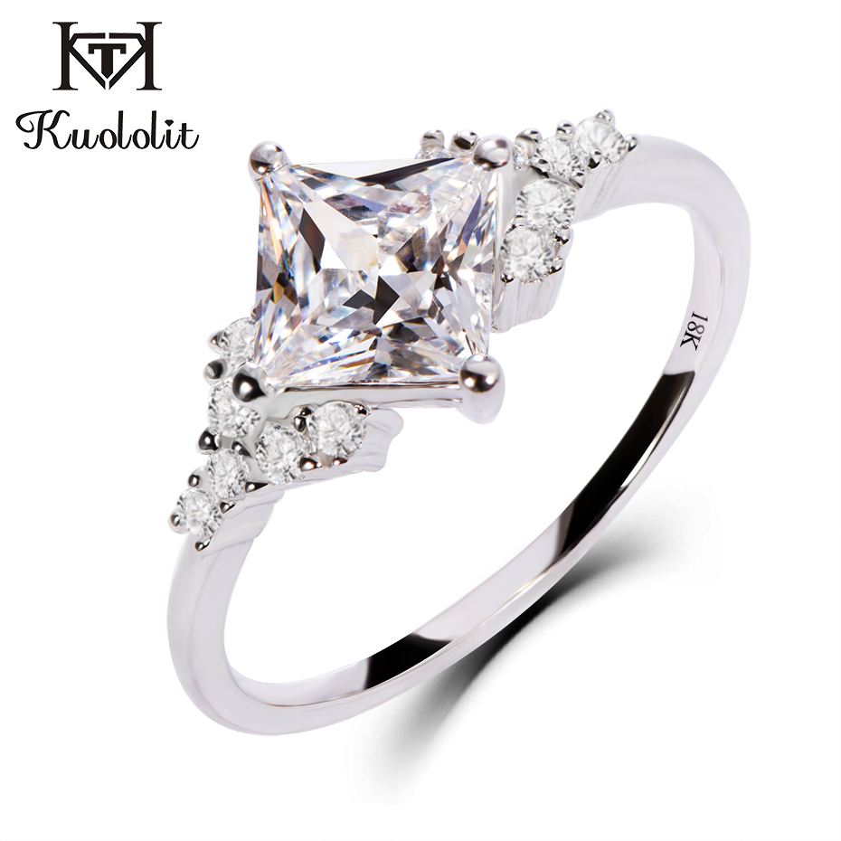 Kuololit 18 K or blanc Moissanite anneaux pour femmes laboratoire cultivé carré coupe magnifique diamant mariage fiançailles cadeaux bijoux fins