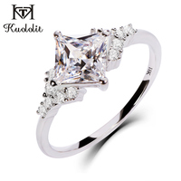 Kuololit 18K White Gold Moissanite Rings for Women Lab Grown Square Cut Gorgeous Diamond Wedding Engagement Gifts Fine Jewelry