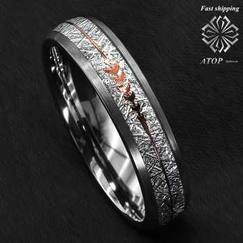 6mm Rock Gray Brushed Dome Tungsten Ring Silver Rose Gold Arrow ATOP Jewelry - DISCOUNT ITEM  0% OFF All Category