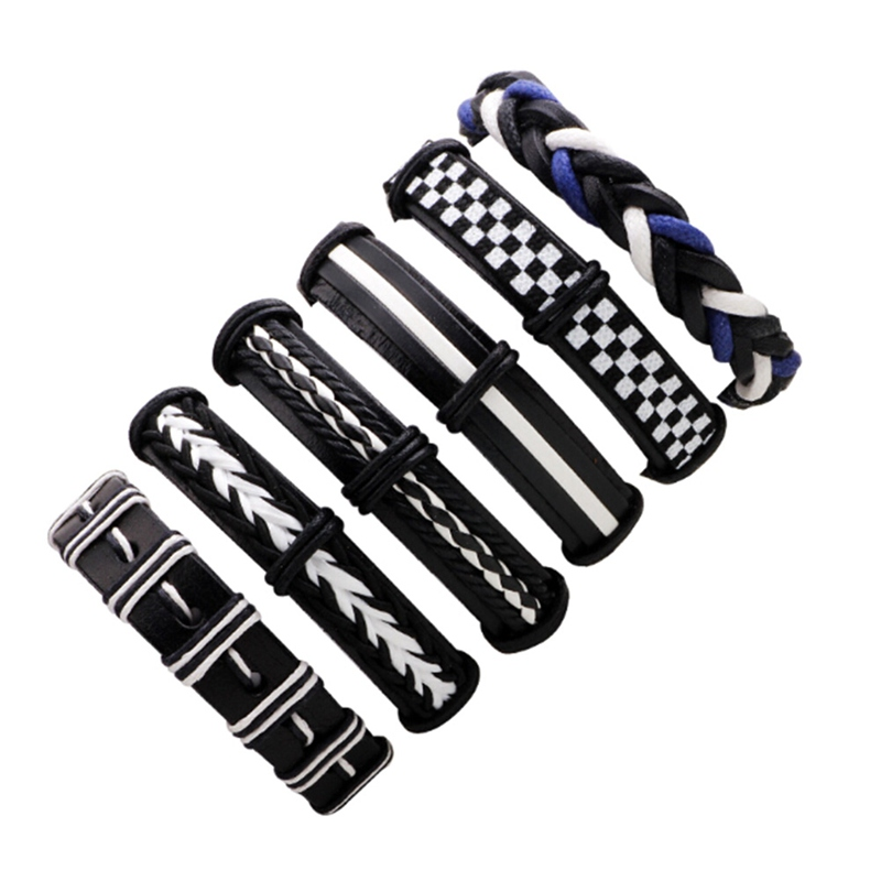 2018 New Style 6 Pcs/Set Wax Rope Braided Bracelet Men Women Vintage Jewley Punk Genuine Leather Bracelet Personality Gifts