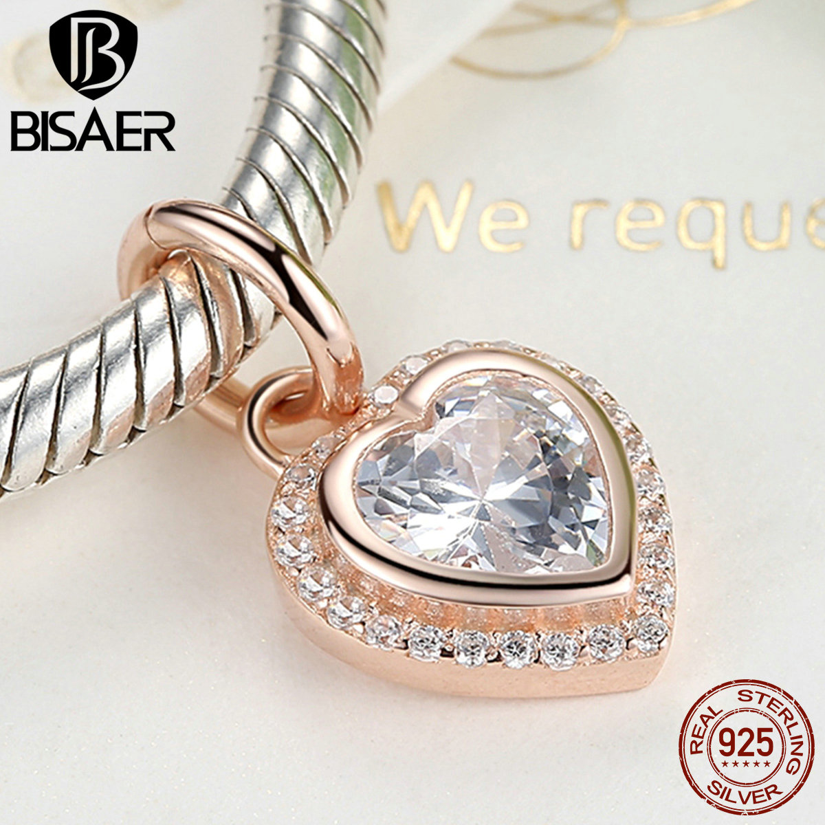 BISAER Hot Sale 100% 925 Sterling Silver Sparkling Love, Rose \u0026amp; Clear CZ Charms