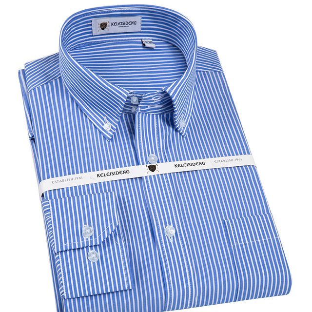 944a0ecb8e Men's Reguar Fit Striped Button-down Shirt with Pocket Long Sleeve Smart  Casual Wrinkle-Free Blue and White Cotton Dress Shirts