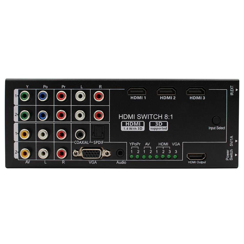 Multi-functional HDMI Converter Switch 8 Inputs to HDMI+COAXIAL+SPDIF Output Support 3D and Surround Sound for 1080P HDTV