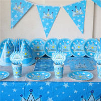 72pcs Disposable Tableware Cups Plates Etc Set Blue Prince Theme For Boys Birthday Party Supplies Kids