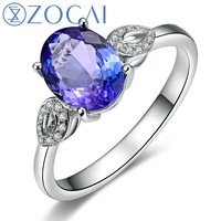 ZOCAI BRAND 1 4 CT TANZANITE With 0 05 CT DIAMOND WOMAN Tanzanite Engagement Romantic RING