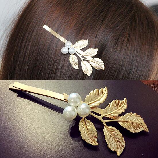 2016 Trendy Gold Color Simulated Pearl Hair Accessories Leaf Hair Clip Hairpins Fashion Hair Accessory For Women Girls Hairwear