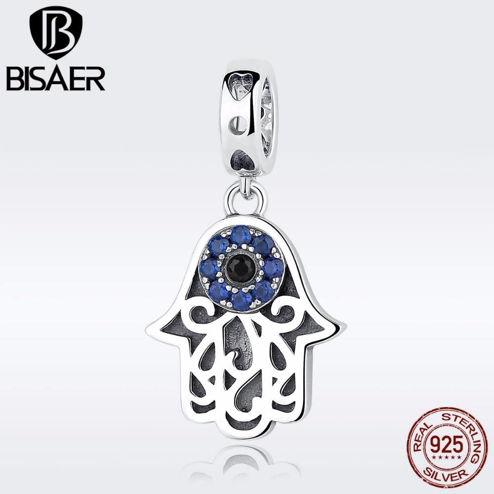 11.11 925 Sterling Silver Blue Evil Eye Charms Fatima Hamsa Hand Pendant Charms Fit BISAER Original Bracelets & Bangles Jewelry цена 2017