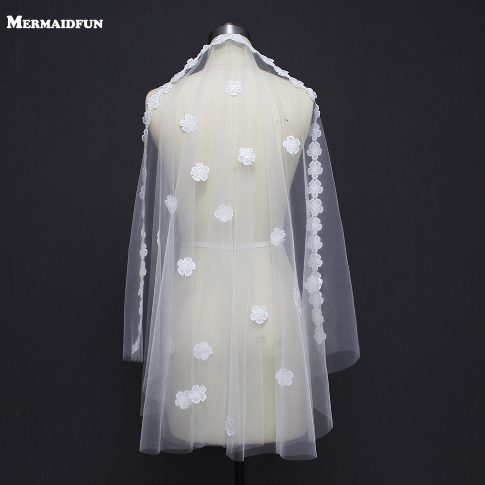 Wedding-Veil Flower Comb Short Lace Appliques Ivory White One-Layer New With Beautiful