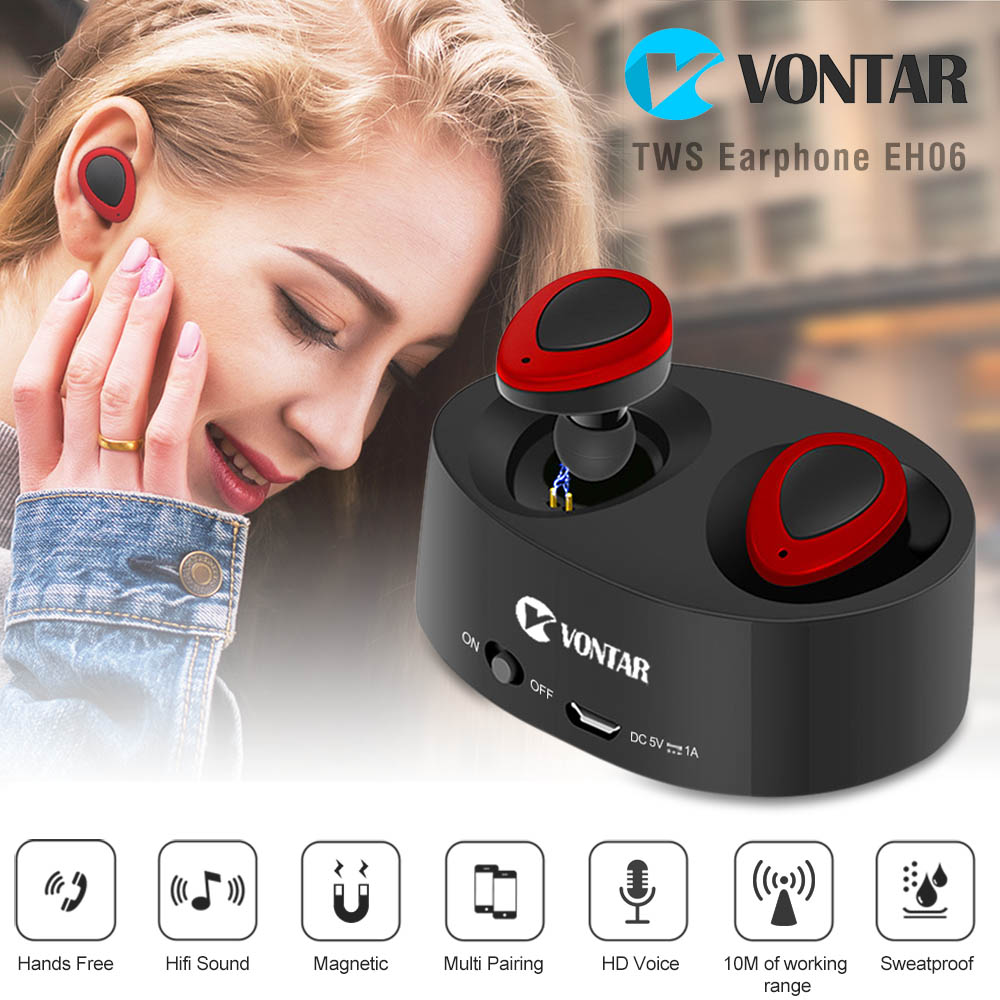 Original VONTAR EH06 TWS Earbuds Bluetooth Earphone Wireless Headset Portable With Battery Box Hands Free For smart phones airersi k6 business bluetooth headset smart car call wireless earphone with microphone hands free and headphones storage box