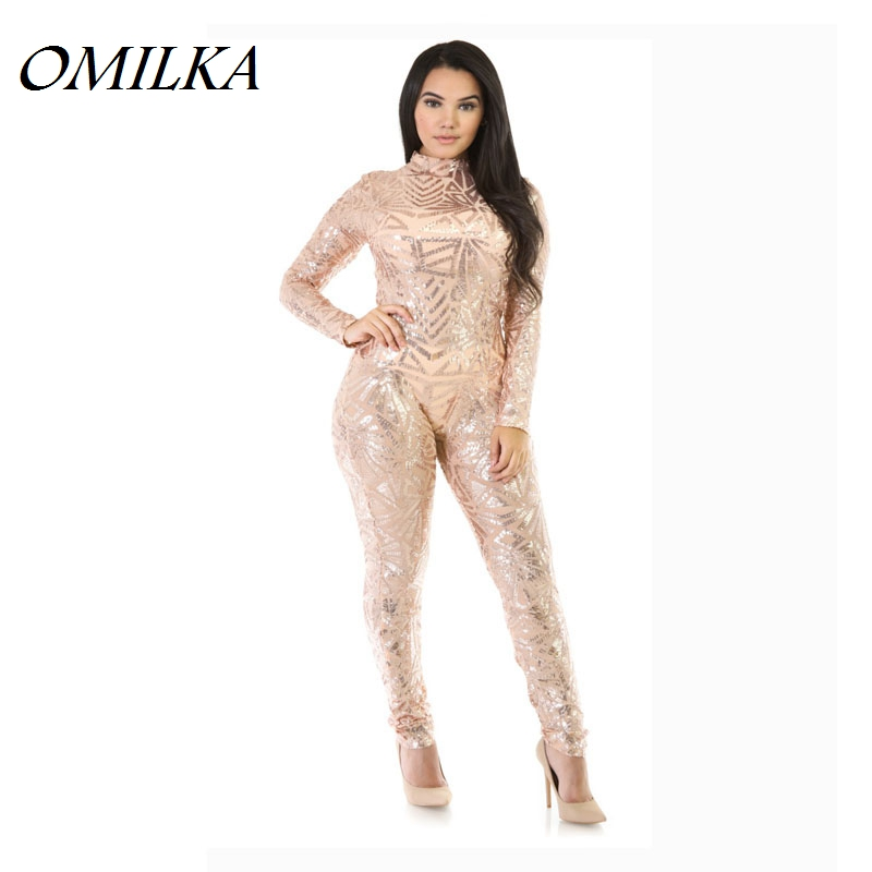 OMILKA Sequined Jumpsuits and Rompers 2017 Hot Women Long Sleeve Geometrical Sexy Black Khaki White Club Party Bodycon Jumpsuits ...