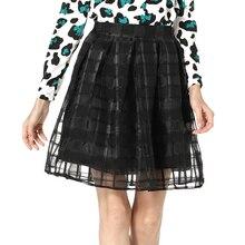 Starlist Woman High Waist Orangza Grid Ball Gown Black Pleated skirt Party Weeding Skirt Bottoms