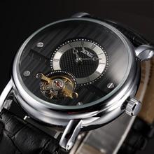 Jaragar casual hombres reloj hombre reloj masculino reloj mecánico automático de los hombres reloj tourbillon dial relogio masculino