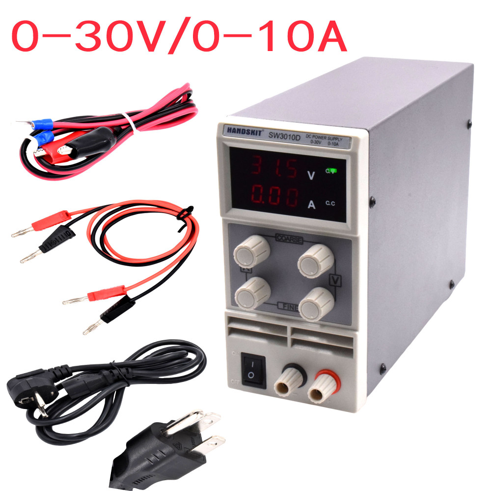 SW3010D Mini Digital DC regulator adjustable power supplier 30V 10A 110V-220V voltage Switching Power supply digital power original lw mini adjustable digital dc power supply 0 30v 0 10a 110v 220v switching power supply 0 01v 0 01a 34 pcs dc jack