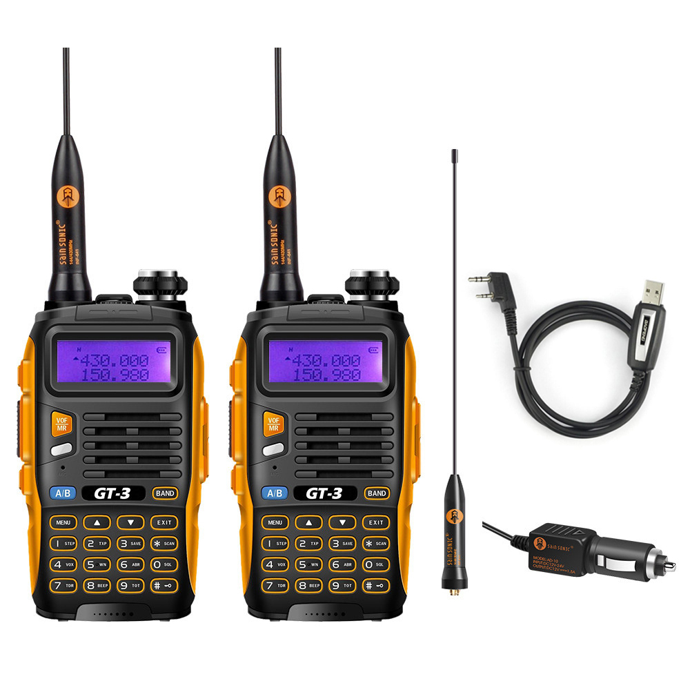 2 Pcs Baofeng GT 3 MarkII Dual Band VHF UHF 136 174 400 520MHz Ham Two