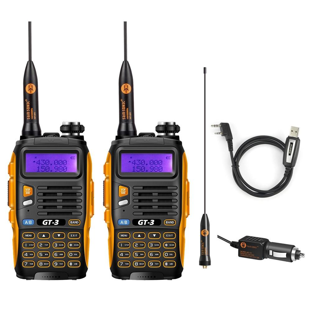 2 Pcs Baofeng GT-3 MarkII Dual Band VHF/UHF 136-174/400-520MHz Ham Two-Way Radio Walkie Talkie Programming Cable
