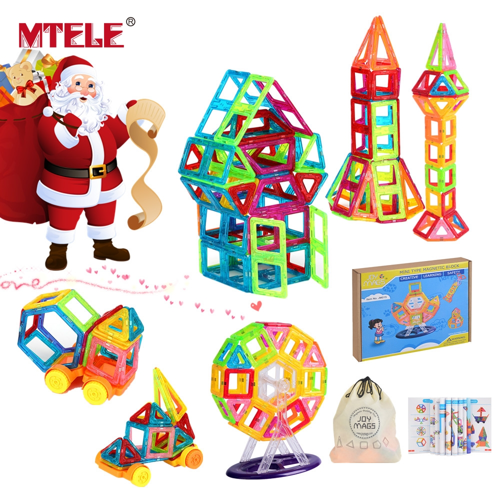MTELE High Quality 40/60/100/110Pcs Mini Magnetic Designer DIY Building Blocks Construction Christmas Gifts For Children Toy mtele brand magnetic designer 68 89 pcs magnetic building in blocks brick toy education educational for toddlers baby kid toy