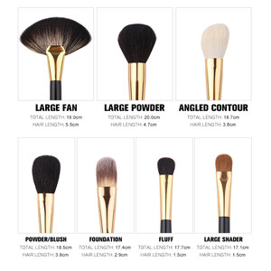 Image 3 - Zoreya 24Pcs Goat Hair Blending Makeup Brushes Professional Powder Foundation Eye Shadow Large Fan Brush Set Tool Animal Natural