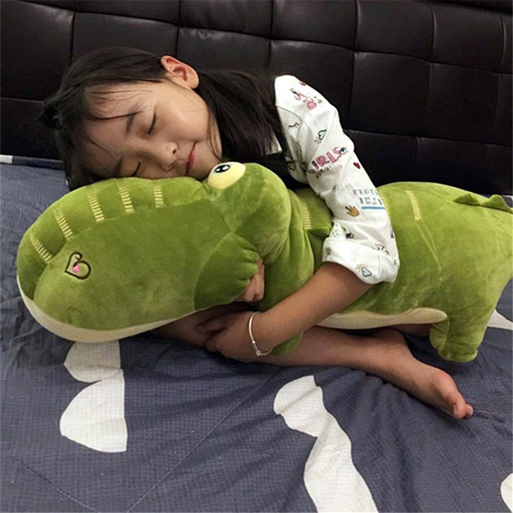 Fancytrader doux en peluche en peluche Crocodile jouets grand énorme dessin animé animaux vert Alligator oreiller poupée enfants jouer cadeaux