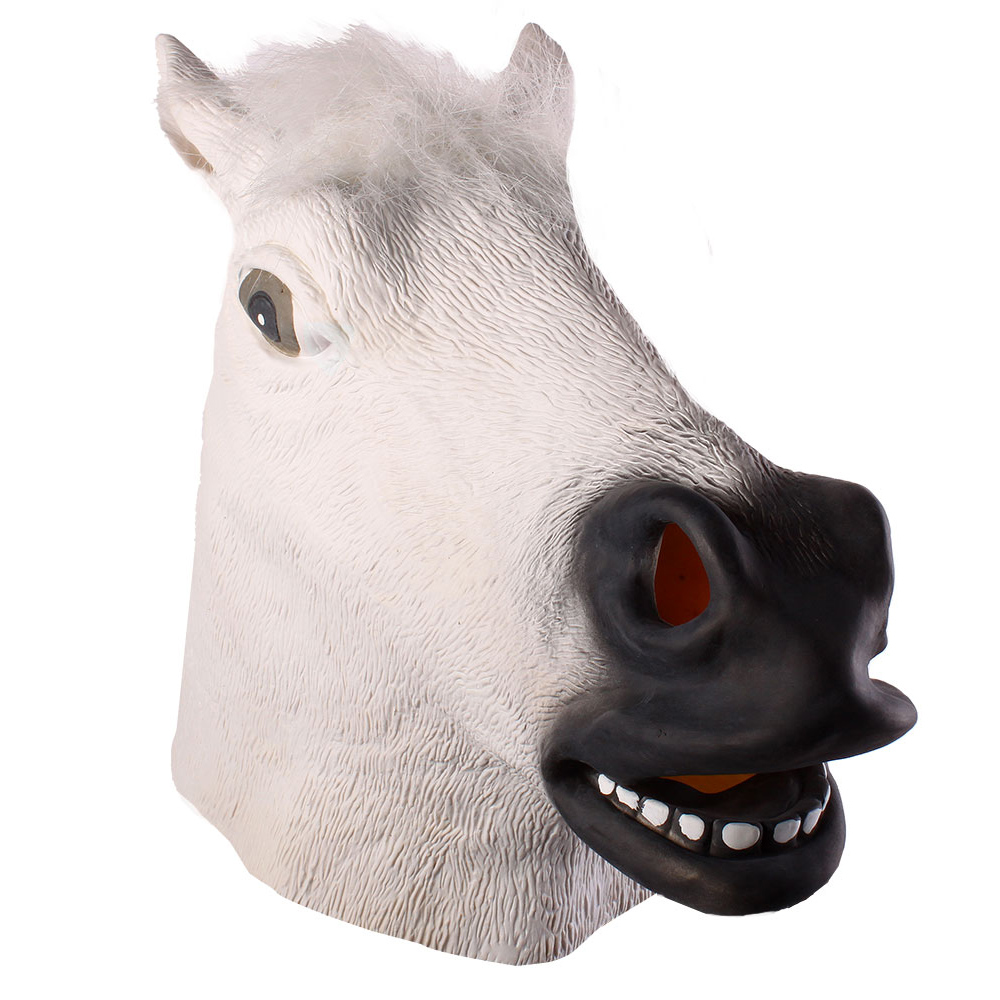 Full Head Mask Horse Head Mask Creepy Fur Mane Latex Realistic Crazy Rubber Super Creepy Party Halloween Costume Animal Mask