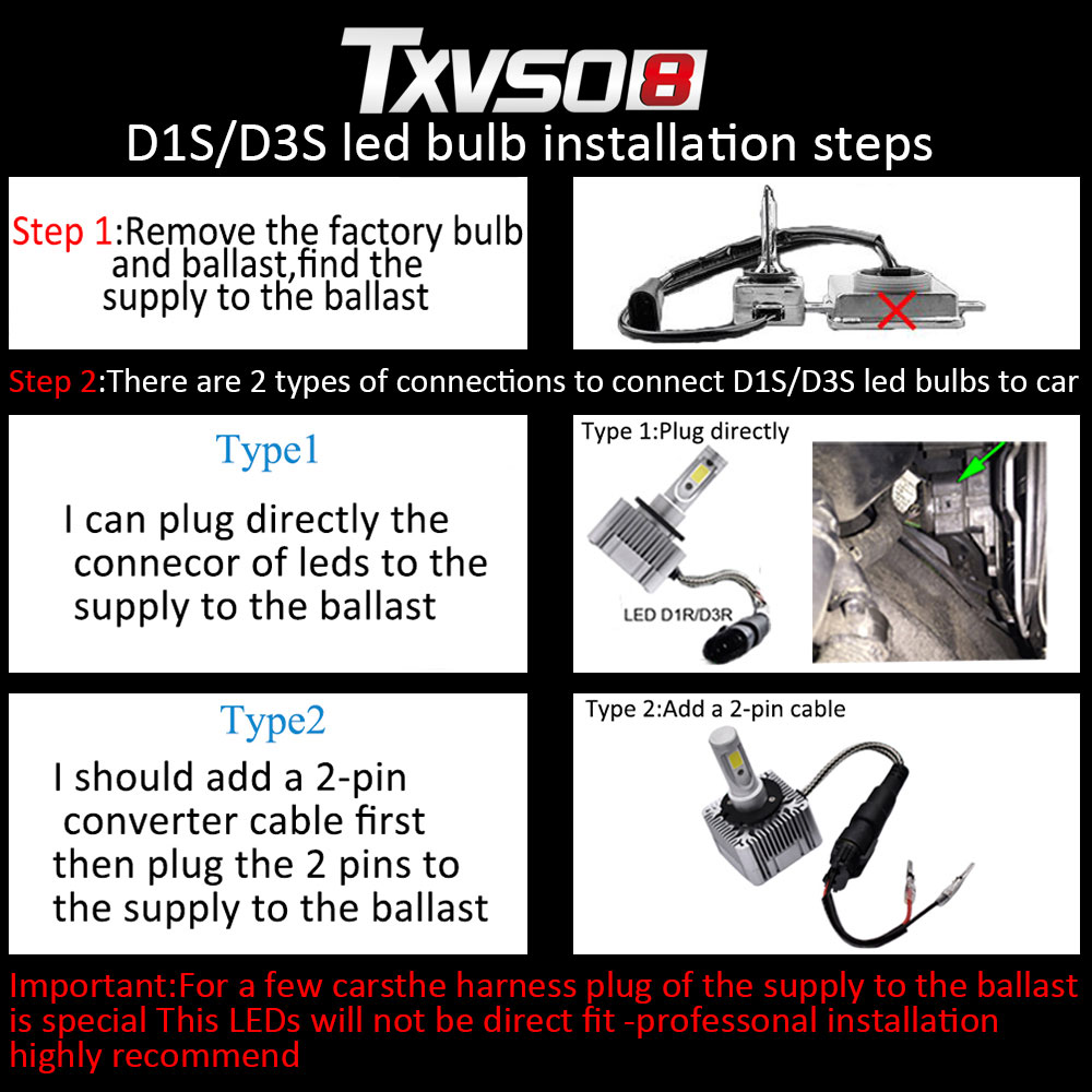 TXVSO8 2PCS Car led D1S D3S headlamp Kits Flip COB Chips 55W 26000LM pure White 6000K Auto Led Headlight Bulb Fog Light Bulbs in Car Headlight Bulbs LED from Automobiles Motorcycles