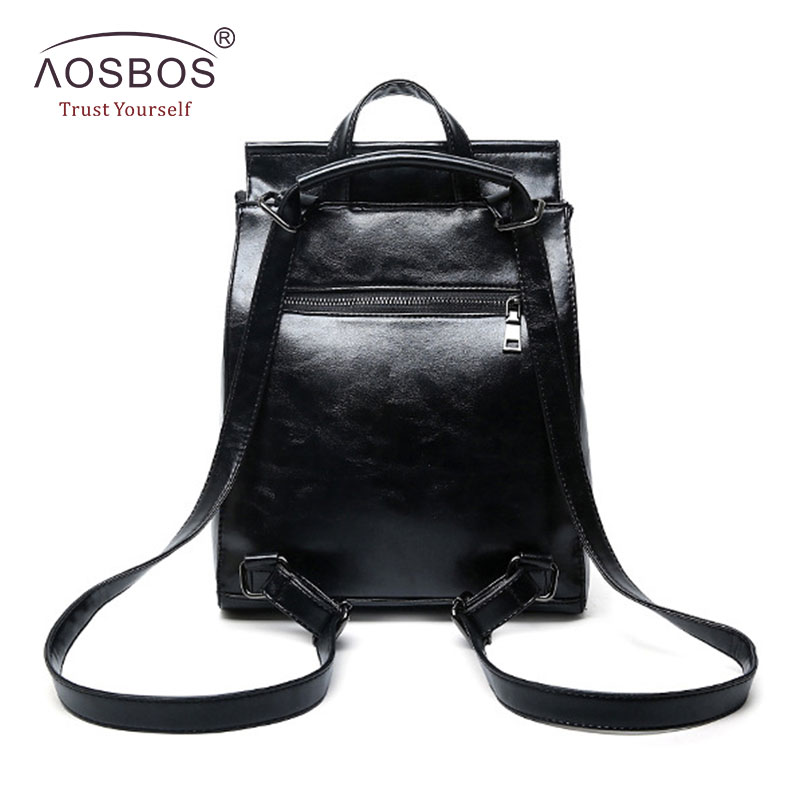Aosbos Fashion Women Backpack High Quality Youth Pu Leather School Shoulder Bag For Teenage Girls Female Vintage Lady Style #3