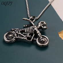 OQEPJ Gothic Biker Motorcycle Motor Skeleton Necklace Pendant 316L Stainless Steel Men High Quality SKull Jewelry Gift