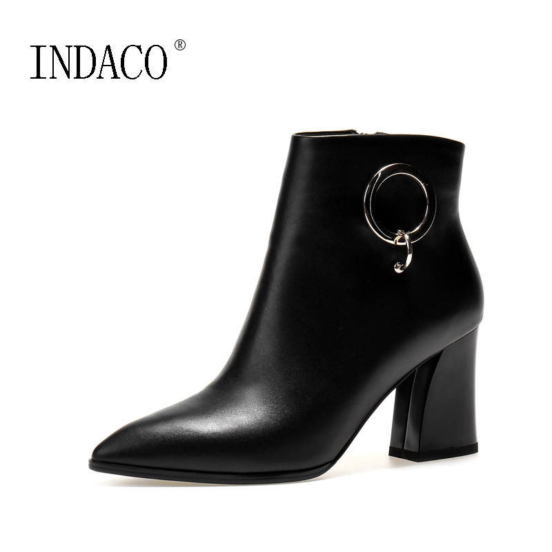 big size fashion scarpe donna tacco alto sexy flock ankle wrap zapatos mujer chaussure femme women high heel women shoes sandals Winter Shoes Women Ankle Boots Leather Thick High Heel Pointed Toe Scarpe Donna Inverno 7.5cm Cuissarde Femme