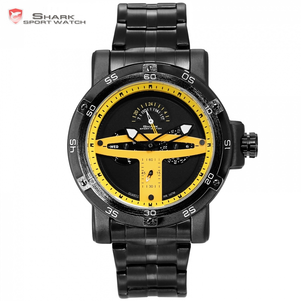 Greenland Shark Sport Watch Yellow Black Date Display Clock Stainless Steel Strap Quartz Men Wrist Watches Heren Horloge/SH429 greenland shark sport watch brand
